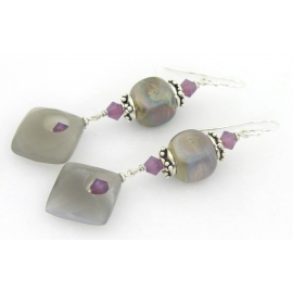 Handmade earrings purple grey lampwork cube moonstone diamond sterling crystal