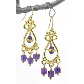 Purple Gold Earrings gold filled amethyst gemstone cubes vermeil chandelier