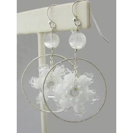Artisan made white glass snowflake earrings in sterling Christmas