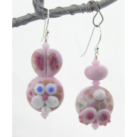 Artisan pink white bunny butt earrings with sterling silver