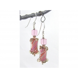 Handmade pink, white, peach earrings with artisan furnace glass, sterling