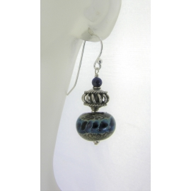 Handmade blue earrings with blue silver lampwork glass, lapis, sterling