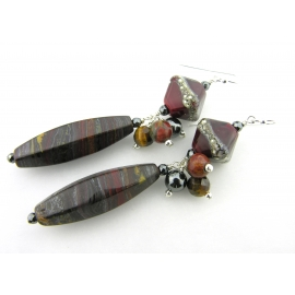 Handmade red black, hematite tiger iron gemstone earrings, lampwork and sterling