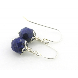 Artisan faceted blue lapis earrings sterling silver petals