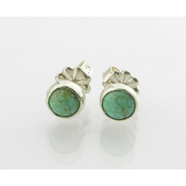 Handmade turquoise cab sterling silver stud post earrings