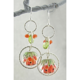 Orange Glow Earrings - handmade artisan lampwork sterling silver orange