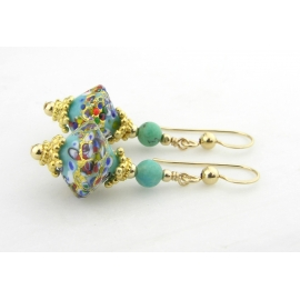 Handmade earrings with turquoise klimt style venetian beads gold fill vermeil
