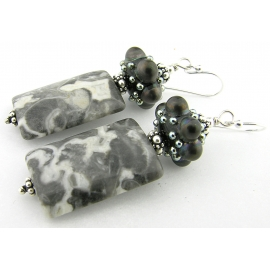 Handmade grey and white earrings with Alaska granite, black dot artisan lampwork