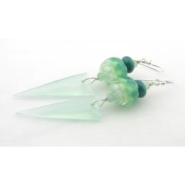 Handmade aqua, teal, white earrings with chalcedony spikes, burma jade, lampwork