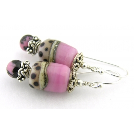 Handmade pink, ivory, black dot lampwork, rhodonite gemstone, sterling