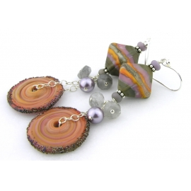Handmade gray lavendar orange lampwork earrings grey quartz sterling rustic