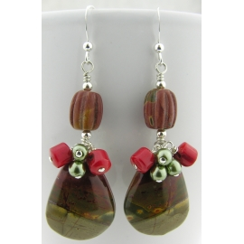 Handmade earrings with green and red creek jasper drops coral sterling