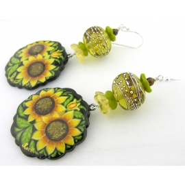 Hand made yellow green black sunflower earrings lampwork glass bronzite sterling