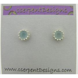 Handmade aqua AAA grade chalcedony cab sterling silver post earrings