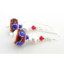 Handmade red white blue earrings pearl star patriotic july4 sterling silver