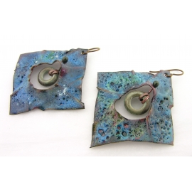 Artisan made blue green grunge crusty enamel on copper earrings lampwork niobium