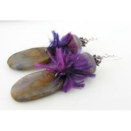 Artisan made brown purple lampwork earrings amethyst sage agate sterling