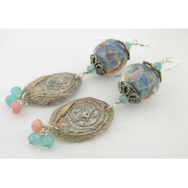 Handmade blue and pink earrings with lampwork glass angelite pink opal sterling