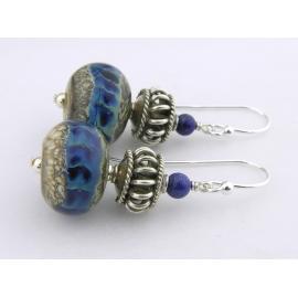 Handmade blue earrings with blue silver lampwork glass, lapis, sterling