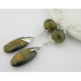 Artisan made brown hollow lampwork earrings golden tiger eye sterling