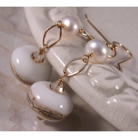 Handmade earrings with artisan lampwork freshwater pearls and gold fill