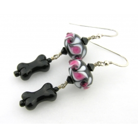 Handmade pink, black, white earrings with lampwork, glass bone, sterling