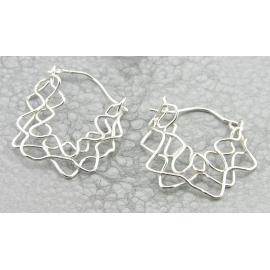 Artisan made argentium sterling mesh swag earrings