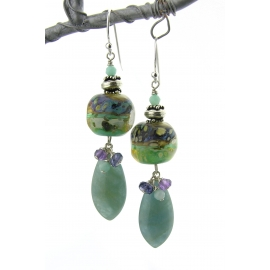 Handmade aqua purple earrings lampwork aquamarine amethyst iolite sterling