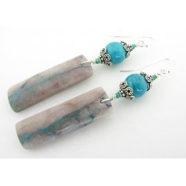 Handmade earrings with chrysocolla in quartz turquoise sterling