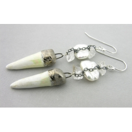 Artisan made white and black sterling earrings with biwa pearls porcelain spike