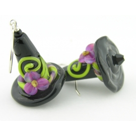 Handmade artisan halloween earrings with black purple witch hats sterling silver
