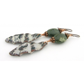 Artisan made green fold formed enamel on copper earrings jasper