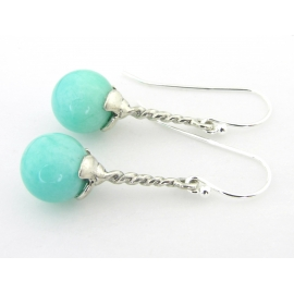 Handmade aqua earrings with amazonite gemstone sterling silver