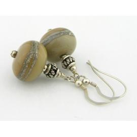 Artisan made taupe tan lampwork earrings in sterling silver