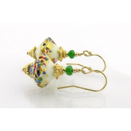 Handmade earrings with ivory klimt style venetian beads tsavorite gold fill
