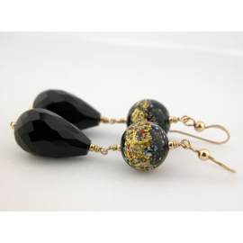 Artisan earrings with black onyx and venetian beads gold fill vermeil