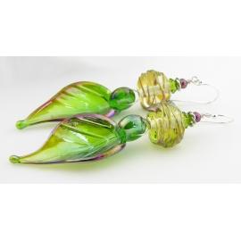 Artisan spring green earrings with lampwork glass leaf, maroon pearl, sterling