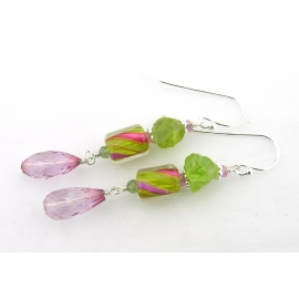 Handmade pink, peridot earrings with furnace glass, topaz sapphire, sterling