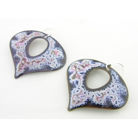 Artisan made blue, white, pink crackle enamel on copper earrings sterling