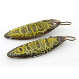 Artisan made organic crackle enamel on copper yellow brown earrings