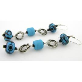Handmade turquoise black lampwork earrings with Swarovski sterling