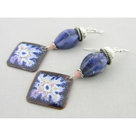 Artisan made blue white pink crackle enamel on copper sodalitearrings sterling