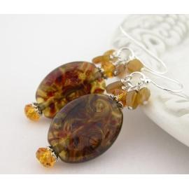 Artisan made topaz lampwork earrings Swarovski crystals wood agate sterling
