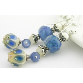 Handmade blue earrings with blue peacock lampwork glass, kyanite, sterling