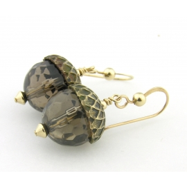 Handmade earrings with faceted smoky quartz acorn gold fill fall autumn