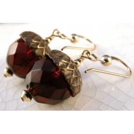 Handmade earrings with dark brown Czech glass acorn gold fill fall autumn