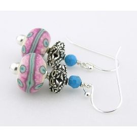 Handmade pink, white, turquoise earrings with lampwork, turquoise, sterling