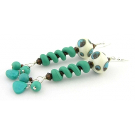 Handmade ivory turquoise brown earrings spiral dots lampwork turquoise sterling