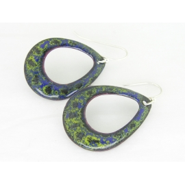 Artisan made blue and lime enamel on copper earrings sterling