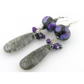 Handmade earrings purple black lampwork amethyst rutilated quartz sterling